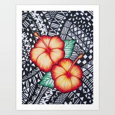 Fijian Hibiscus Art Print by Lonica Photography & Poly Designs - X-Small Hawaiian Flower Tattoos, Hawaiian Art, Polynesian Designs, Polynesian Tribal, Fijian Tattoo, Island Tattoo, Hibiscus Tattoo, Zentangle, Maori Art