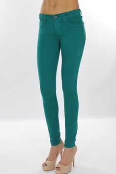 turquoise skinny jeans / 7 for all mankind