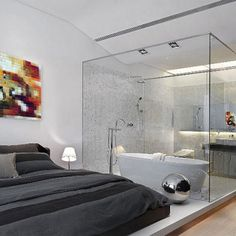 Modern bathroom inside bedroom with glass wall Modernes Badezimmer im Schlafzimmer mit Glaswand Modern Bedroom Design, Contemporary Bedroom, Modern Design, Bedroom Designs, Modern Bedrooms, Contemporary Design, Bed Designs, Modern Room, Modern Wall