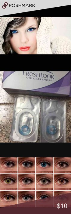 """Brilliant Blue Contacts NIB Non prescription  FreshLook  NOTE: Box Opened not contactsfor Pictures... Note :We will suggest you change( replace ) it within 3 weeks if you use it frequently.""""-FreshLook Colors available: Amethyst,Brilliant Blue, Brown, Gemstone Green, Gray, Green, Honey,True Sapphire, and Turquoise.  I have all colors listed above bundles can be mixed and matched  BUY 1 set FOR $10 Buy 2 sets FOR $18 Buy 3 sets FOR FOR $27 Tags: High quality, Nike Sephora, Victoria Secret Mac…"""