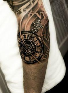 biomechanics tattoo arm tattoos ideas black clock mechanism:
