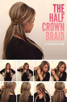 Nice twist on half-up braided crown