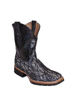 Ferrini Women's Cowgirl Cool Floral S-Toe Boot - Silver/Black