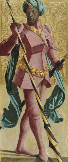 St. Mauritius (also Saint Maurice, Moritz, Morris, or Mauritius) was a European Moor, who was the leader of the legendary Roman Theban Legion in the 3rd century AD. He has been the Patron Saint of many European countries for centuries now. This depiction (which is stylized far from other traditional depictions) was completed by Austrian master painter Marx Reichlich (1460–1520),