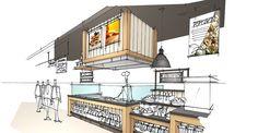 Interior Design For Living Room Referral: 1334668222 Interior Design Programs, Bar Interior Design, Interior Design Sketches, Interior Rendering, Interior Design Living Room, Interior Architecture, Kiosk Design, Retail Design, Bakery Shop Interior