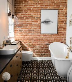 ~ red brick in a row house bathroom - ~ red brick in a row house bathroom - Brick Bathroom, Bathroom Red, Best Bathroom Vanities, Small Bathroom, Bathrooms, Bathroom Tubs, Bathtub, Red Brick Tiles, Brick Look Tile