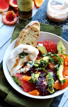 Winter Citrus and Avocado Salad with Burrata and Balsamic Reduction (Joanne Eats Well With Others) Healthy Vegetarian Meal Plan, Vegetarian Recipes, Healthy Food, Zucchini, Balsamic Reduction, Thing 1, Sweet Tarts, Food Processor Recipes, Veggies