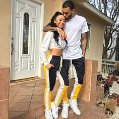 JurllyShe Contrast Color Side Stripe Drawstring Sweatpants Palazzo Pants Shop link website search to get the fashion pants Couple Swag, Matching Couple Outfits, Matching Couples, Cute Black Couples, Black Couples Goals, Cute Couples Goals, Couple Goals Relationships, Relationship Goals Pictures, Couple Relationship