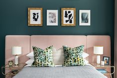 In this second bedroom we featured a stunning, dusky pink velvet headboard which contrasts beautifully against the Farrow and Ball Inchyra Blue walls. Pink Bedroom Walls, Velvet Bedroom, Bedroom Green, Bedroom Decor, Blue Walls, Bedroom Ideas, Green Bedding, Green Pillows, Pink Bedding