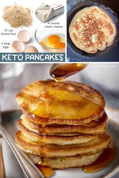 Easy Low Carb Breakfast Recipe: 3 Ingredient Keto Pancakes made with simple ingredients! Almond flour, cream cheese and eggs. This fast and easy low carb breakfast idea is a nice little treat when youre on a ketogenic diet! Keto Friendly Desserts, Low Carb Desserts, Low Carb Recipes, Healthy Recipes, Roast Recipes, Skinny Recipes, Lunch Recipes, Delicious Recipes, Vegetarian Recipes