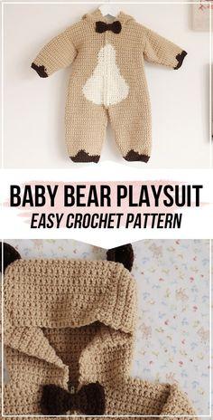 Crochet Baby Bear Playsuit Set FREE Pattern - easy crochet Playsuit pattern for beginners Source by threadsbyjinx Sets Crochet Baby Clothes Boy, Crochet Baby Costumes, Crochet Bebe, Crochet For Boys, Easy Crochet, Baby Patterns, Crochet Patterns, Crochet Baby Cocoon Pattern, Crochet Ideas