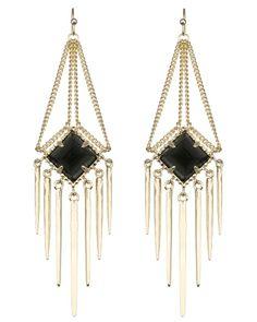 { Aurora Fringe Earrings in Black }