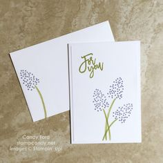 Click through to stampcandy.net for details! Thoughtful Branches bundle, flower note card & envelope, Stampin' Up!, Pear Pizzazz, Wisteria Wonder