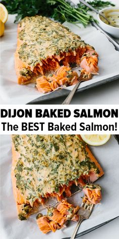 dinner recipes Dijon baked salmon is one of my favorite easy baked salmon recipes. Its incredibly flavorful and the dijon topping keeps the salmon moist, light and flaky. Its the perfect healthy dinner recipe and can be made in under 30 minutes. Easy Salmon Recipes, Fish Recipes, Best Salmon Recipe Baked, Recipies, Salmon Recipes Whole 30, Cooked Salmon Recipes, Whole30 Salmon Recipes, Noodle Recipes, Steak Recipes