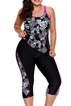 Rosewe Women Black Plus Size Printed Tankini Swimsuit Plus Printed Black Top and Swimwear Cropped Pants Plus Size Tankini, Plus Size Swimsuits, Women Swimsuits, Tankini Top, Black Tankini, Rash Guard Swimwear, Mini Vestidos, Swim Dress, Plus Size Bikini
