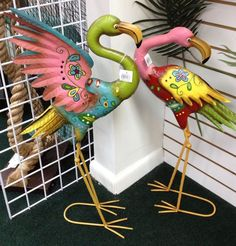 yard art flamingos   Colorful Garden Flamingos Metal Yard Art   Grow my Garden Green