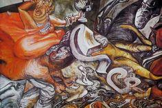 Autor: José Clemente Orozco. Año: 1942-1944. Título: Apocalipsis. Ubicación: Iglesia de Jesús el Nazareno. Después de haber sido censurado en la Suprema Corte de Justicia, se le otorgan los muros de esta iglesia para que pinte un mural sobre la glorificación de la conquista, sin embargo el pintor cambió de opinión y lo hizo sobre el apocalipsis, en donde se mezclan sarcasmo, angustia, irritación; lo angélico y lo demoníaco, la guerra y la ramera apocalíptica.