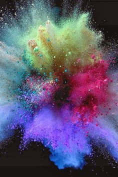 This is a photo of a colorful explosion. Lately, the word explosion has applied to my life through explosions of emotion. Bursts of happiness, sadness, stress, and more. There has not been a dull moment. Paint Explosion, Fotografia Macro, Color Powder, Explosions, Rainbow Colors, Wallpaper Backgrounds, Iphone Backgrounds, Iphone Wallpapers, Color Splash
