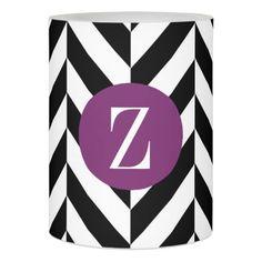 Monogram Black White Zigzag Purple Circle Flameless Candle