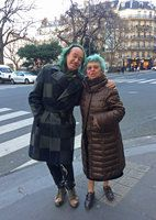 Annette Hladik and Patrick Blanc, two close green scientist friends in Paris streets, Dec. 2016