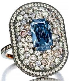 Another jewel from the recent collaboration with Siegelson and Lauren Adriana that is set to be revealed at Masterpiece London includes a rare type IIb deep blue diamond (the same certified colour as the Hope diamond) and is surrounded by coloured pave diamonds with each stone hand-selected to bring out the unusual colours of the centre diamond.