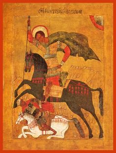 Dimitri the Great Martyr. Traditional Panel Orthodox icon of St. Dimitri the Great Martyr. Saint George And The Dragon, Medieval Paintings, Library Images, Byzantine Art, Portraits, Religious Icons, Orthodox Icons, Sculpture, Monster