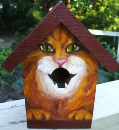BIRD HOUSE Hand Painted for the Cat Lover. $35.00, via Etsy.