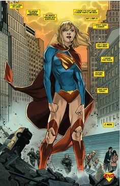 Supergirl savoring the consequences of her newly acquired power on Earth in the New of her own title, illustrated by Mahmud Asrar. Superman Art, Superman Family, Batman, Supergirl Comic, Supergirl New 52, Supergirl Drawing, Dc Comics Characters, Dc Memes, Comics Girls
