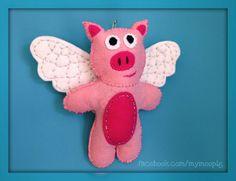 When Pigs Fly / Felt Lavender Sachet / Moo Pig by MyMooPig on Etsy