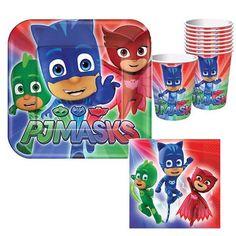 PJ Masks Tableware - 8 Guests Baby Birthday Themes, Fourth Birthday, Superhero Birthday Party, 4th Birthday Parties, Boy Birthday, Birthday Ideas, Birthday Board, Pj Masks Party Favors, Pj Mask Party Decorations