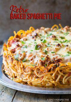 Amazing Retro Baked Spaghetti Pie Recipe | ASpicyPerspective.com