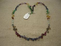 "Natural Multi Stone Multi Shape Faceted 17"" Beads Fancy Necklace, 62 Cts…"