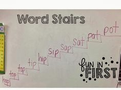 Students change one letter at a time to make a new word on each step. Fun in First Grade