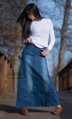 Women S Long Blue Jean Skirts - Long Denim Skirt Womens Skirts Modest Denim Skirts, Denim Skirt Outfits, Modest Outfits, Long Jean Skirts, Modest Clothing, Denim Skirts For Women, Blue Jean Skirts, Midi Skirts, Summer Outfits