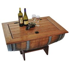 diy old wine barrel coffee table with storage for cool drinks