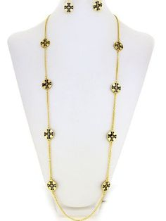 Designer Inspired Solid Goldtone Charms with Black Patterned Cross Long Necklace. 36 Inch Total Length. With Matching Earrings. Hail Mary Gifts,http://www.amazon.com/dp/B00C1IXX9Y/ref=cm_sw_r_pi_dp_c38IrbC70A6545AD