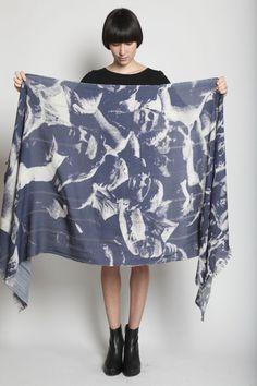 TOTOKAELO - U-Ni-Ty - Crowd Print Scarf - Petrol Blue Multi ($200-500) - Svpply