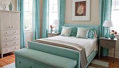 Bedroom - white, teal, silver