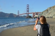Taking in the sights in San Francisco with the Elevate Black backpack