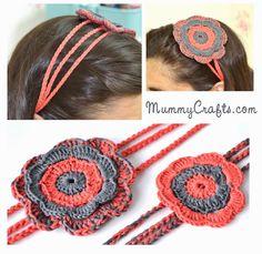 Diadema de Crochet con Flor