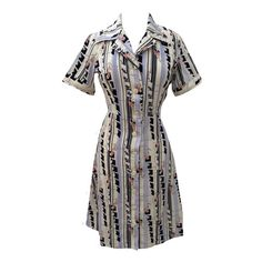 1970s abstract print vintage shirt waister dress