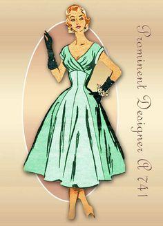 1950s Sewing Pattern Prominent Designer A 741 Sizzling Formal Cocktail or Evening Dress Cabana Original Designed by Isabel Dobson