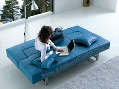 Bright blue couch