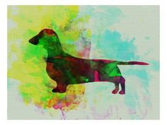 Dachshund Watercolor Print by NaxArt at Art.com