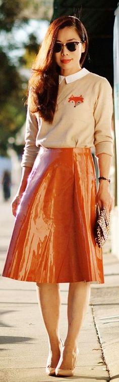 Pumpkin Spice:  collar  Sweater And  patent  skirt