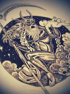 "#saturn #god #illustration #moleskine #art #drawing #vascobz ""SONS OF SATURN""ℏink on moleskine…work in progress"