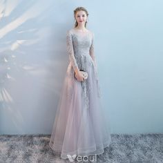 Chic / Beautiful Grey Evening Dresses 2017 A-Line / Princess Lace Pearl Sequins Scoop Neck Long Sleeve Ankle Length Formal Dresses