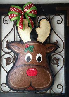 Rudolph the reindeer Christmas burlap door by ConnieRisleyCrafts Christmas Trimmings, Burlap Christmas, Christmas Crafts, Reindeer Christmas, Christmas Ideas, Christmas Ornaments, Reindeer Head, Red Nosed Reindeer, Burlap Wall Hangings