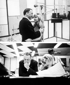 Frank Sinatra, with daughter Nancy at their first joint recording session in 1967.