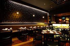 Academy Tiles | Project 2679 | Restaurant using black gloss Aya wall tiles (Feza 72502)